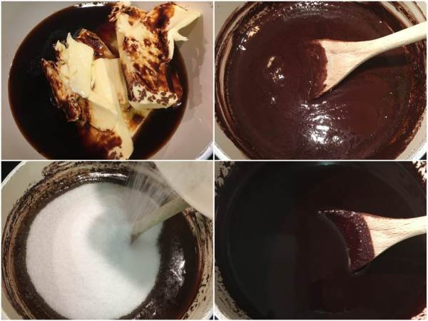 In a medium saucepan, combine coffee, Irish whiskey, butter, and the remainder of cocoa powder. Warm on medium high and whisk ocassionally until butter is melted. Whisk in erythritol and stevia until dissolved. Remove from heat and let the mixture cool completely.