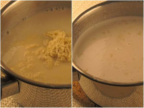 """In a medium pot, whisk together <a href=""""http://amzn.to/2r1BT6L"""" target = """"_blank"""">almond milk</a>, <a href=""""http://amzn.to/2q5LOs3"""" target = """"_blank"""">coconut milk</a>, <a href=""""http://amzn.to/2r1LcU7"""" target = """"_blank"""">erythritol</a>, and ground <a href=""""http://amzn.to/2q60zeu"""" target = """"_blank"""">almonds</a>. Bring to boil slowly and whisk until <a href=""""http://amzn.to/2r1LcU7"""" target = """"_blank"""">erythritol</a> dissolves. Set aside."""