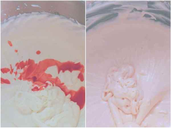 Put half of the cream mixture into another bowl and set aside. Add strawberry aroma to half of the cream mixture and mix thoroughly.