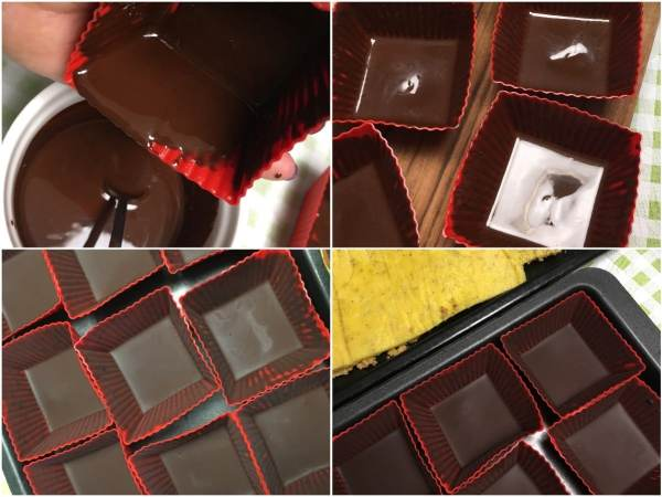 """Prepare 10 <a href=""""http://amzn.to/2utUJY9"""" target=""""_blank"""">freezer friendly silicone mini cake baking molds</a> with approximate dimensions of 3 x 3 x 1.5 inch. <br><br> In a microwave-safe bowl, melt the <a href=""""http://amzn.to/2uulTy1"""" target=""""_blank"""">chocolate</a> on medium temperature for a minute or two, or until completely runny. Spoon some <a href=""""http://amzn.to/2uulTy1"""" target=""""_blank"""">chocolate</a> into each of the <a href=""""http://amzn.to/2utUJY9"""" target=""""_blank"""">molds</a>. Turn each of the <a href=""""http://amzn.to/2utUJY9"""" target=""""_blank"""">molds</a> around to let the excess <a href=""""http://amzn.to/2uulTy1"""" target=""""_blank"""">chocolate</a> drip back into the bowl. <br><br> Place the molds into a freezer for a few minutes. In the meantime, prepare the two cream fillings. Keep the <a href=""""http://amzn.to/2utUJY9"""" target=""""_blank"""">molds</a> and the sponge cake ready for assembly."""