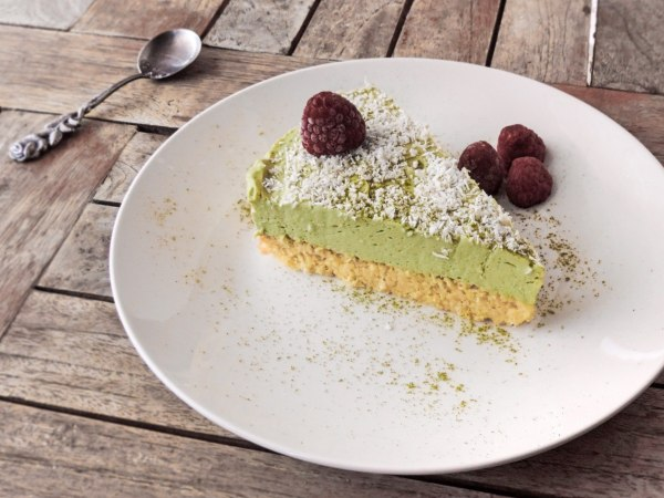 Refrigerate the cake for at least 4 hours or overnight before serving. I suggest you don't save it for dinner as matcha might keep you up for a while! :-)