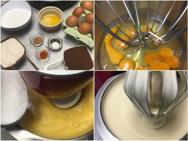 "Using a <a href=""http://amzn.to/2eKRdmE"" target=""_blank"">stand electric mixer</a>, beat 9 eggs with the whisk attachment for 1 min on high spped. With the mixer on, gradually add 1 cup <a href=""http://amzn.to/2eKzzj2"" target=""_blank"">erythritol</a>  and continue beating on high speed a full 8 min. It will be thick and fluffy. Tip: You will need a huge mixing bowl."
