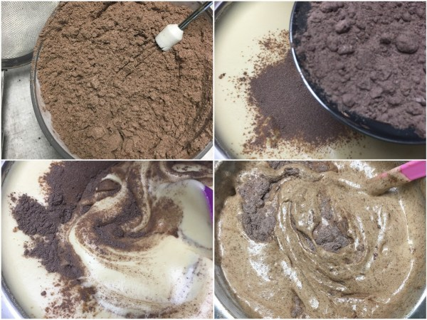 "Whisk together <a href=""http://amzn.to/2fFbr1H"" target=""_blank"">almond flour</a> and <a href=""http://amzn.to/2fEYpRU"" target=""_blank"">cocoa powder</a> and sift in thirds into batter. Fold with a <a href=""http://amzn.to/2vXeq8i"" target=""_blank"">spatula</a> between each addition. Once all flour is in, continue to fold just until no streaks of flour remain, scraping the bottom of the bowl to get any pockets of flour. We do not want to over-mix and deflate the batter."