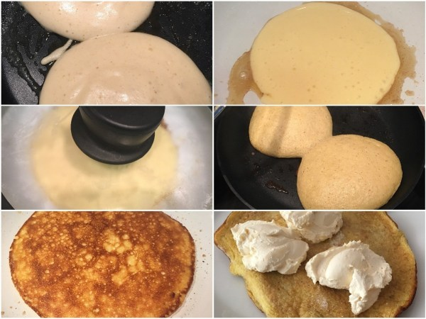 "Heat the <a href=""http://amzn.to/2A9kxtj"" target=""_blank"">pan</a> with butter. Pour the batter into the <a href=""http://amzn.to/2A9kxtj"" target=""_blank"">pan</a> (or distribute to 2 - 3 smaller pancakes) and cover with lid. Cook on medium-high. Wait for a couple of minutes for the pancake to cook - the top of the pancake must not be too wet. At this point, you can stop cooking and flip the pancake onto a plate, or flip the pancake around on the <a href=""http://amzn.to/2A9kxtj"" target=""_blank"">pan</a> to turn brown on the other side. 