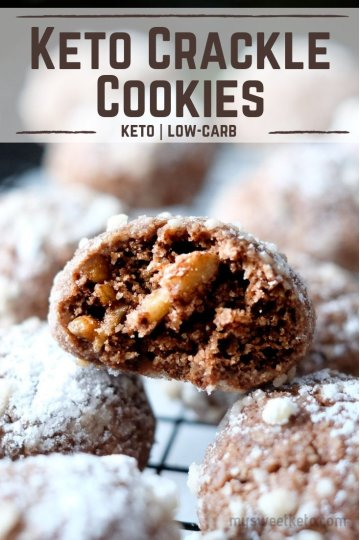 When all the keto cookie recipes are not enough for you, here are the chewy, yummy, chocolatey, nutty Keto Crackle Cookies! (ONLY 0.9 net carbs + VIDEO!) #keto #ketogenic #cookies