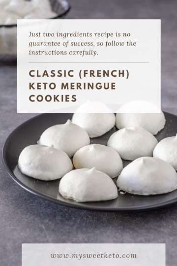 Just two ingredients recipe is no guarantee of success, so follow the recipe carefully. I'll walk you through the steps for perfect keto meringue cookies!