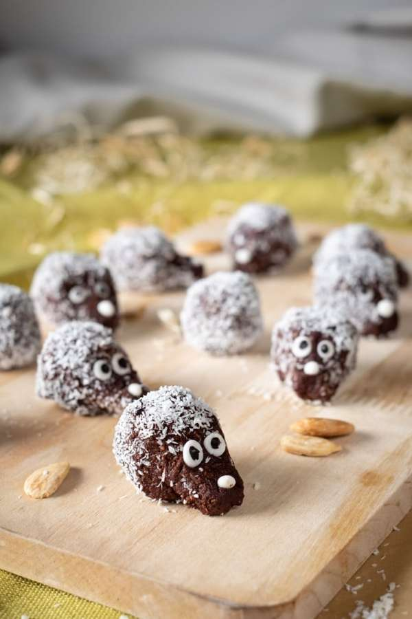 No Bake Keto Hedgehogs recipe by MySweetKeto #keto. Love chocolate and nuts combination? The fun of keto chocolate hedgehogs isn't only in their shape. The recipe is so quick and easy to make! #lowcarb #glutenfree #ketodesserts