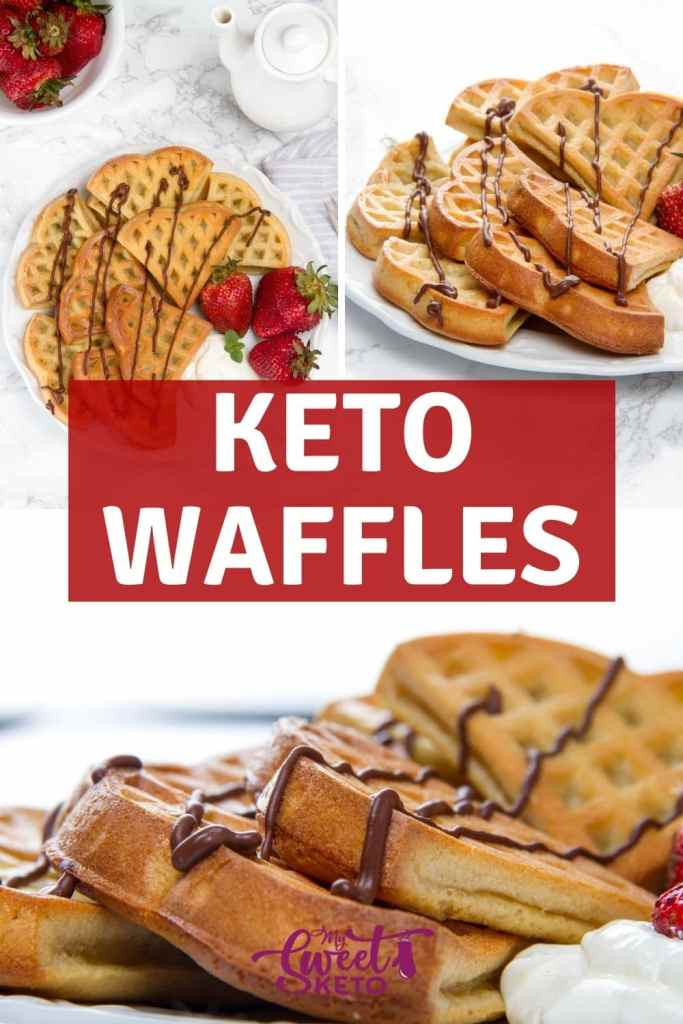 These keto waffles with almond flour are crispy on the outside and soft and fluffy on the inside. Inspired by famous Belgian waffles. Without any complicated ingredients. #ketowaffles #keto #waffles