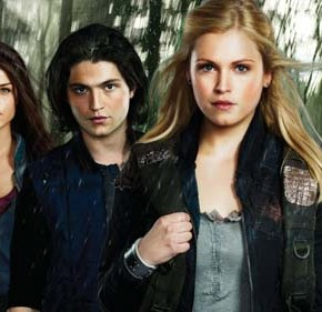 The 100 -- Image: HU01_KEYGroup1 -- Pictured (L-R): Bob Morley as Bellamy, and Marie Avgeropoulos as Octavia, Thomas McDonell as Finn, Eliza Taylor as Clarke, Eli Goree as Wells -- Photo: Brendan Meadows/The CW -- © 2013 The CW Network. All Rights Reserved.
