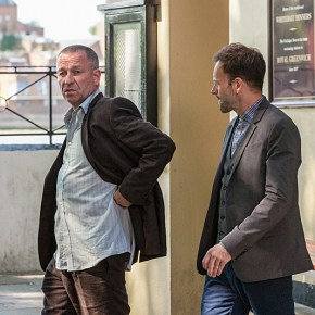 """Step Nine"" -- Holmes (Jonny Lee Miller, right) travels to London and comes to the aid of his older mentor, Gareth Lestrade (Sean Pertwee, left), on the second season premiere of ELEMENTARY, Thurs. Sept. 26 (10:00 – 11:00 PM, ET/PT) on the CBS Television Network. Photo: Joss Barratt /CBS ©2013 CBS Broadcasting, Inc. All Rights Reserved"