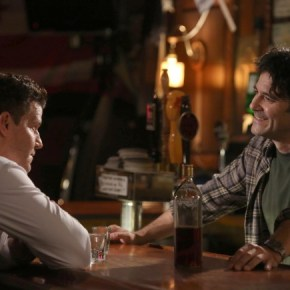 """BONES: Booth (David Boreanaz, L) meets with Aldo Clemens (guest star Mather Zickel, R), a friend and ex-priest from his military days, in the """"The Secrets in the Proposal"""" season premiere episode of BONES airing Monday, Sept. 16 (8:00-9:00 PM ET/PT) on FOX. ©2013 Fox Broadcasting Co.  Cr: Patrick McElhenney/FOX"""