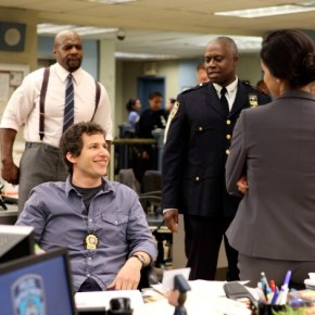 """BROOKLYN NINE-NINE: From Emmy Award-winning writer/producers of """"Parks and Recreation"""" and starring Emmy Award winners Andy Samberg (second from L) and Andre Braugher (second from R), BROOKLYN NINE-NINE is a new single-camera workplace comedy about what happens when a hotshot detective (Samberg) gets a new Captain (Braugher) with a lot to prove. The new single-camera workplace comedy BROOKLYN NINE-NINE premieres this fall on FOX. Also pictured L-R:  Terry Crews and Melissa Fumero. ©2013 Fox Broadcasting Co. Cr: Eddy Chen/FOX"""
