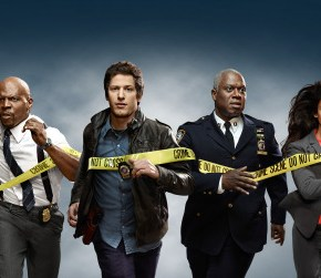 "BROOKLYN NINE-NINE: From Emmy Award-winning writer/producers of ""Parks and Recreation"" and starring Emmy Award winners Andy Samberg (C) and Andre Braugher (third from R), BROOKLYN NINE-NINE is a new single-camera workplace comedy about what happens when a hotshot detective (Samberg) gets a new Captain (Braugher) with a lot to prove. The new single-camera workplace comedy BROOKLYN NINE-NINE premieres this fall on FOX. Also pictured L-R: Chelsea Peretti, Stephanie Beatriz, Terry Crews, Melissa Fumero and Joe Lo Truglio. ©2013 Fox Broadcasting Co. Cr: Patrick Eccelsine/FOX"