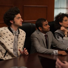 "PARKS AND RECREATION -- ""London"" Episode 601/602 -- Pictured: (l-r) Ben Schwartz as Jean-Ralphio, Aziz Ansari as Tom Haverford, Jenny Slate as Mona Lisa -- (Photo by: Colleen Hayes/NBC)"