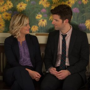 "PARKS AND RECREATION -- ""London"" Episode 601/602 -- Pictured: (l-r) Amy Poehler as Leslie Knope, Adam Scott as Ben Wyatt -- (Photo by: Colleen Hayes/NBC)"