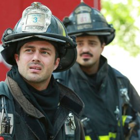 "CHICAGO FIRE -- ""A Problem House"" Episode 201 -- Pictured: (l-r) Taylor Kinney as Kelly Severide, Yuri Sardarov as Brian ""Otis"" Zvonecek -- (Photo by: Elizabeth Morris/NBC)"