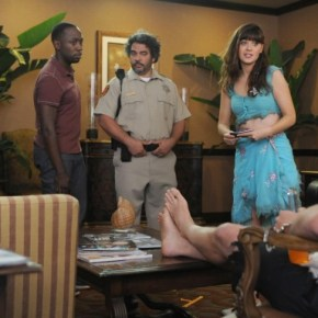 "NEW GIRL:  Jess (Zooey Deschanel, second from R) recruits Schmidt (Max Greenfield, L) and Winston (Lamorne Morris, second from L) when Nick (Jake Johnson, R) is detained by the Mexican authorities (guest star Hemky Madera, C) in the ""All In"" season premiere episode of NEW GIRL airing Tuesday, Sept. 17 (9:00-9:30 PM ET/PT) on FOX. ©2013 Fox Broadcasting Co. Cr: Ray Mickshaw/FOX"