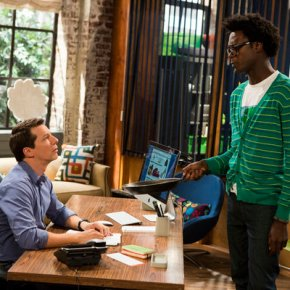 SEAN SAVES THE WORLD -- Episode 101 -- Pictured: (l-r)  Sean P. Hayes as Sean, Echo Kellum as Hunter -- (Photo by: Justin Lubin/NBC)