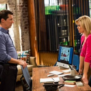 SEAN SAVES THE WORLD -- Episode 101 -- Pictured: (l-r) Sean P. Hayes as Sean, Megan Hilty as Liz -- (Photo by: Justin Lubin/NBC)