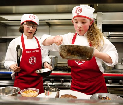 """MASTERCHEF: L-R: Contestants Jimmy and Kayla in the all-new """"Junior Edition: Restaurant Takeover"""" episode of MASTERCHEF airing Tuesday, Feb. 10 (8:00-9:00 PM ET/PT) on FOX. CR: Greg gayne / FOX. © 2014 Fox Broadcasting."""