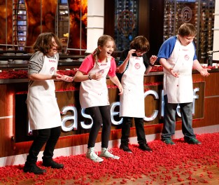 "MASTERCHEF: L-R: Contestants Jimmy, Jenna, Andrew and Nathan have rasberries dumped on them in the all-new ""Junior Edition: Creme De La Creme"" episode of MASTERCHEF airing Tuesday, Feb. 17 (8:00-9:00 PM ET/PT) on FOX. CR: Greg gayne / FOX. © 2014 Fox Broadcasting."