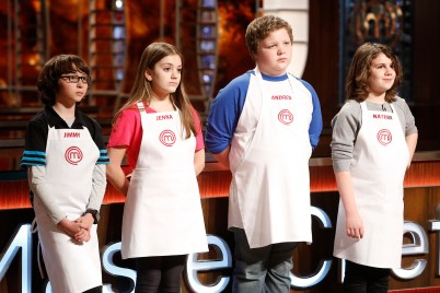 "MASTERCHEF: L-R: Contestants Jimmy, Jenna, Andrew and Nathan in the all-new ""Junior Edition: Creme De La Creme"" episode of MASTERCHEF airing Tuesday, Feb. 17 (8:00-9:00 PM ET/PT) on FOX. CR: Greg gayne / FOX. © 2014 Fox Broadcasting."