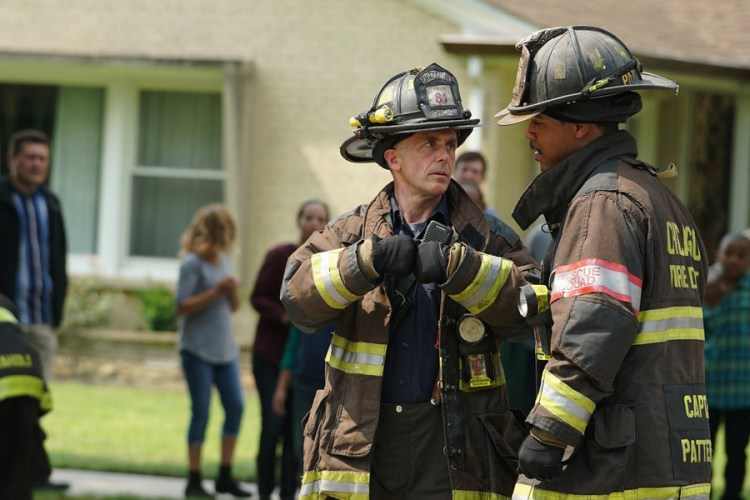 """CHICAGO FIRE -- """"Your Time Is Coming"""" Episode 404 -- Pictured: (l-r) David Eigenberg as Christopher Herrmann, Brian White as Dallas Patterson -- (Photo by: Elizabeth Morris/NBC)"""