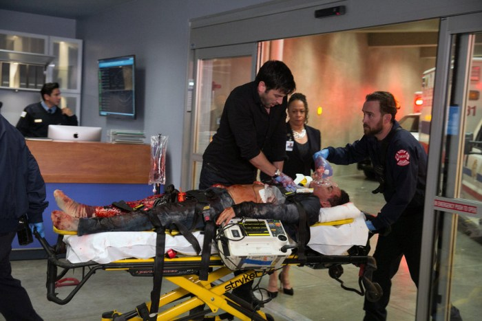 "CHICAGO MED -- ""Derailed"" Episode 101 -- Pictured: (l-r) Colin Donnell as Dr. Connor Rhodes, S. Epatha Merkerson as Sharon Goodwin -- (Photo by: Elizabeth Sisson/NBC)"