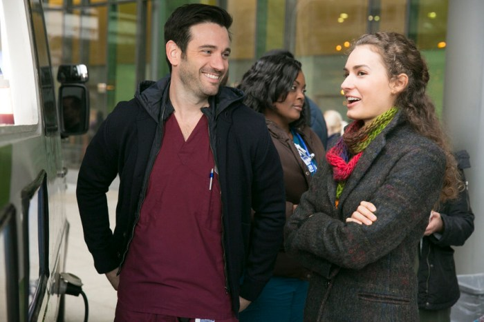 "CHICAGO MED -- ""Mistaken"" Episode 104 -- Pictured: (l-r) Colin Donnell as Dr. Connor Rhodes, Rachel DiPillo as Dr. Sarah Reese  -- (Photo by: Elizabeth Sisson/NBC)"