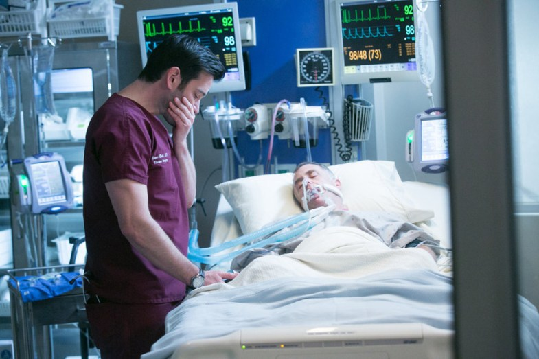 "CHICAGO MED -- ""Malignant"" Episode 105 -- Pictured: (l-r) Colin Donnell as Dr. Connor Rhodes, David Eigenberg as Christopher Herrmann  -- (Photo by: Elizabeth Sisson/NBC)"