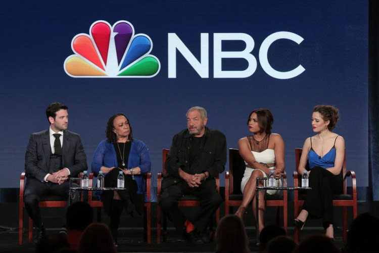 "NBCUNIVERSAL EVENTS -- NBCUniversal Press Tour, January 2016 -- NBC's ""Chicago Fire"", Chicago P.D."", ""Chicago Med"" Session -- Pictured: (l-r) Colin Donnell and S. Epatha Merkerson, ""Chicago Med""; Dick Wolf, Executive Producer; Monica Raymund, ""Chicago Fire""; Marina Squerciati, ""Chicago P.D."" -- (Photo by: Chris Haston/NBCUniversal)"