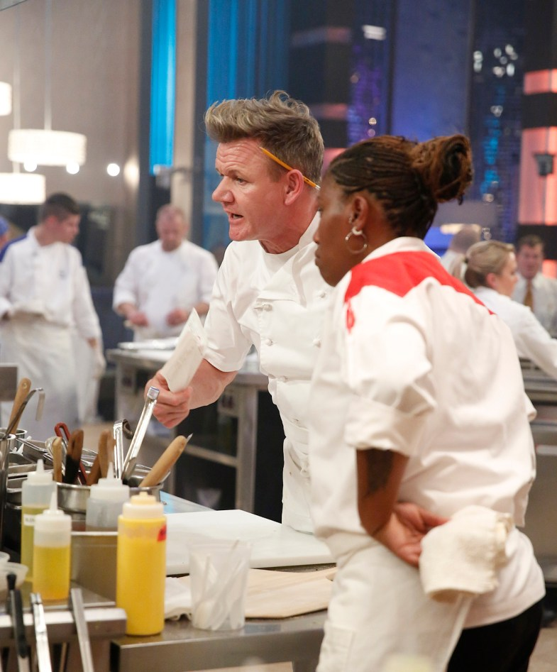 "HELL'S KITCHEN: L-R: Chef / host Gordon Ramsay and contestant Aziza in the all-new ""17 Chefs Compete"" episode of HELL'S KITCHEN airing Friday, Sept. 30 (8:00-9:01 PM ET/PT) on FOX. Cr: Greg Gayne / FOX. © 2016 FOX Broadcasting Co."