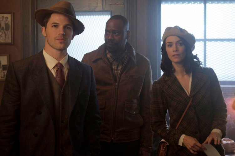 "TIMELESS -- ""Pilot"" -- Pictured: (l-r) Matt Lanter as Wyatt Logan, Malcolm Barrett as Rufus Carlin, Abigail Spencer as Lucy Preston -- (Photo by: Joe Lederer/NBC)"