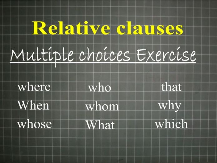 relative clauses - multiple choices