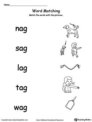 Early Childhood Word Families Worksheets