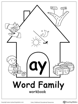 AY Word Family Workbook for Kindergarten