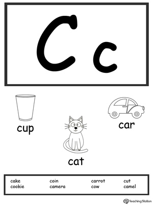 Letter C Printable Alphabet Flash Cards For Preschoolers Myteachingstation Com