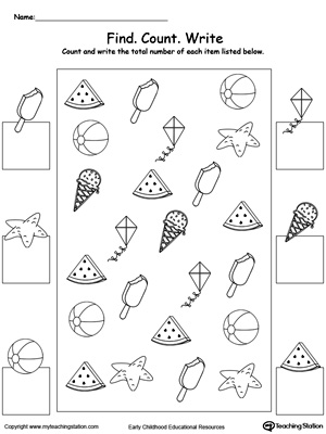 Kindergarten Numbers Printable Worksheets