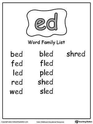 ED Word Family Workbook for Kindergarten