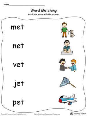 Number Names Worksheets » Matching Words To Pictures