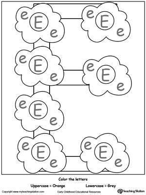 Trace Words That Begin With Letter Sound: E