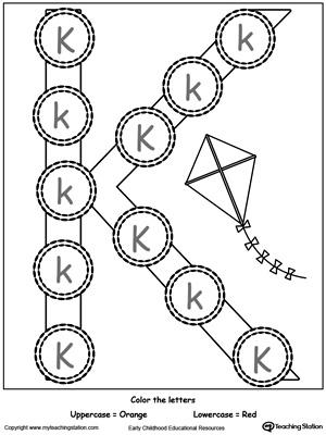 Letter K Printable Alphabet Flash Cards for Preschoolers