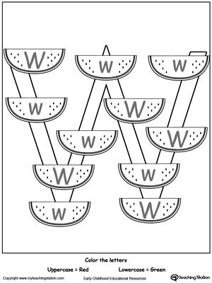 Letter W Printable Alphabet Flash Cards for Preschoolers
