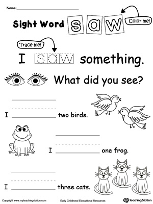 All Worksheets » Sight Word Cut And Paste Worksheets