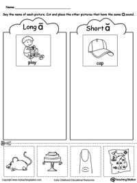 Short and Long Vowel A Picture Sorting | MyTeachingStation.com
