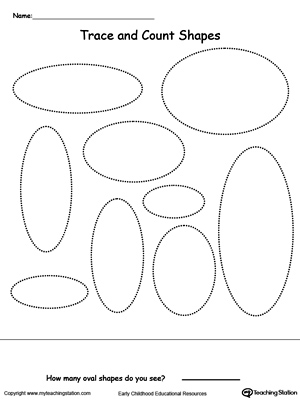 Find, Trace, Color and Count the Shapes: Oval