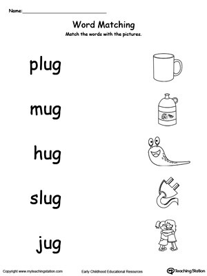 UG Word Family Workbook for Kindergarten