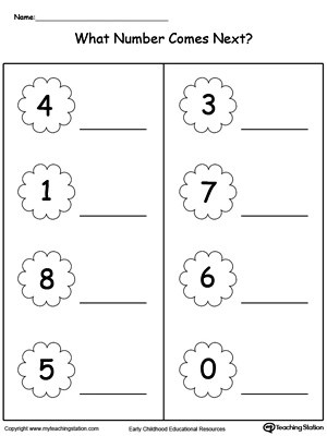 Number in Between 1 Through 10 Worksheet
