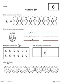 Number 6 Practice Worksheet | MyTeachingStation.com