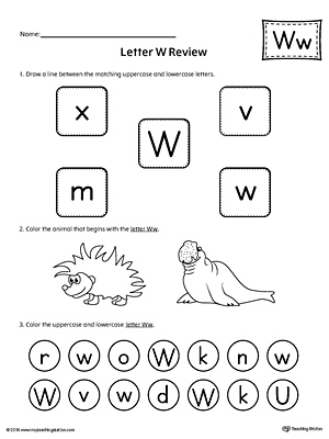 Uppercase and Lowercase Letter W Printable Writing Mat